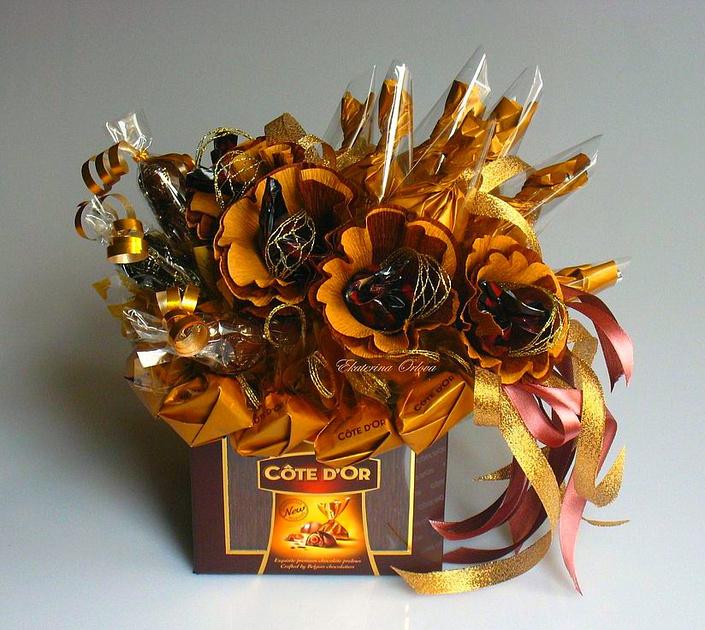 Букеты из конфет для мужчин фото 136